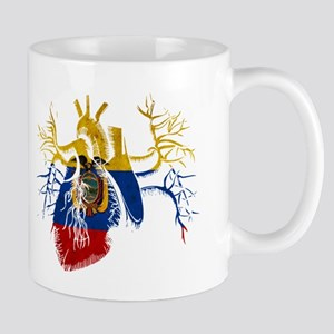 Ecuador Flag in Real heart Mug
