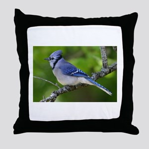 Happy Blue Jay Throw Pillow