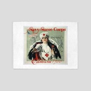 Vintage Navy Nurse Corps 1908 5'x7'Area Rug