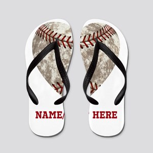 19bb7cf5e65d3a Baseball Love Personalized Flip Flops