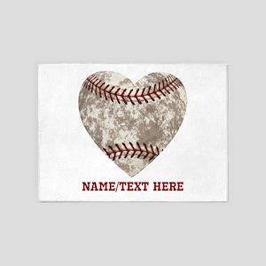 Baseball Love Personalized 5'x7'Area Rug