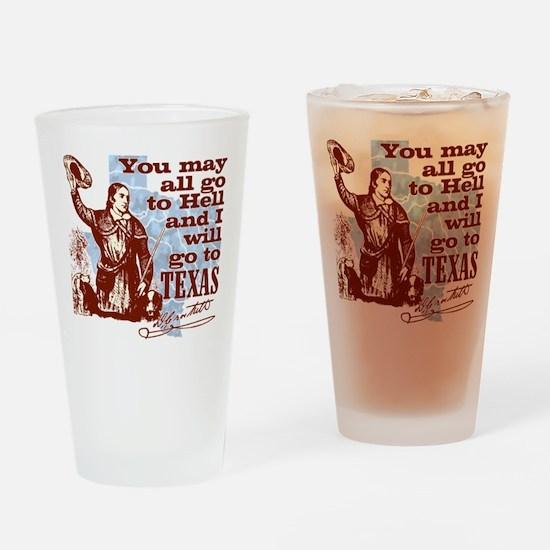 Davys Gone To Texas Drinking Glass