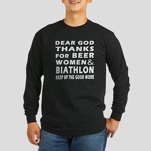 Beer Women And Biathlon Long Sleeve Dark T-Shirt