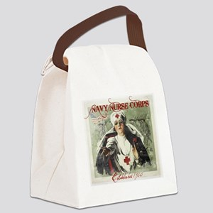 Navy Nurse Corps Vintage Red Canvas Lunch Bag