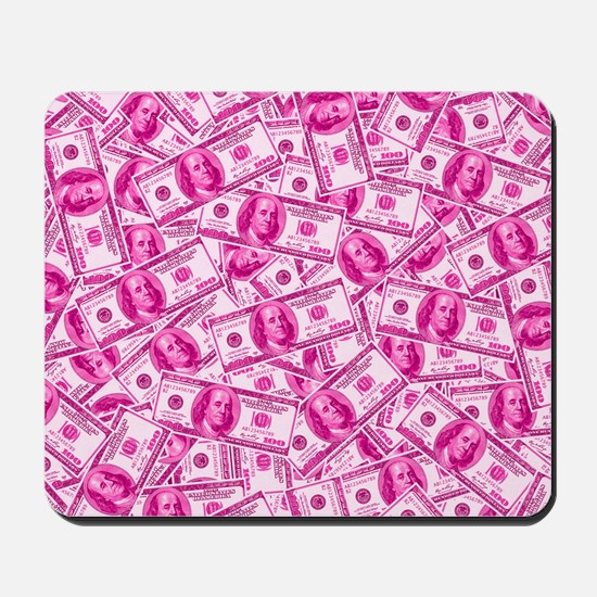 Pink Hundred Dollar Bill Pattern Mousepad