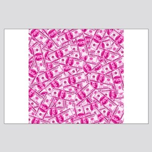 Pink Hundred Dollar Bill Pattern Posters