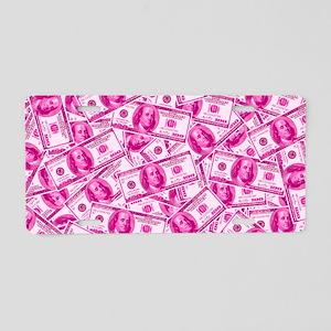 Pink Hundred Dollar Bill Pattern Aluminum License