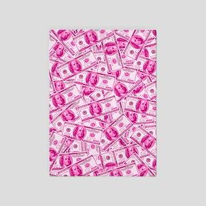 Pink Hundred Dollar Bill Pattern 5'x7'Area Rug