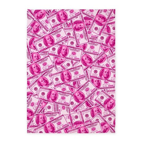 pink hundred dollar bill pattern 5 x7 area rug by trendyteeshirts