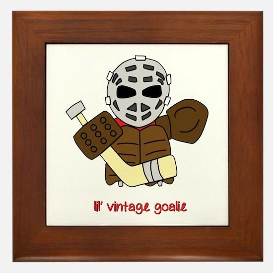 Lil Vintage Hockey Goalie Framed Tile