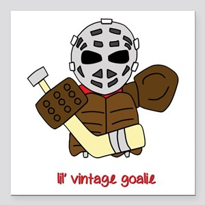 "Lil Vintage Hockey Goalie Square Car Magnet 3"" x 3"