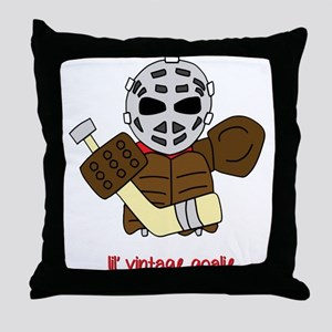 Lil Vintage Hockey Goalie Throw Pillow