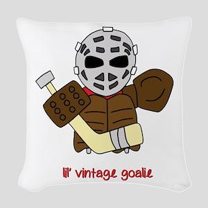 Lil Vintage Hockey Goalie Woven Throw Pillow