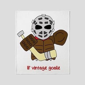 Lil Vintage Hockey Goalie Throw Blanket