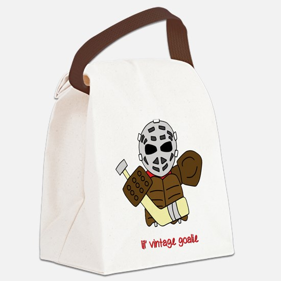 Lil Vintage Hockey Goalie Canvas Lunch Bag