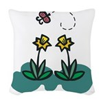 daffodils and butterfly.png Woven Throw Pillow