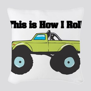 monster truck Woven Throw Pillow