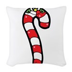 happy little candy cane Woven Throw Pillow