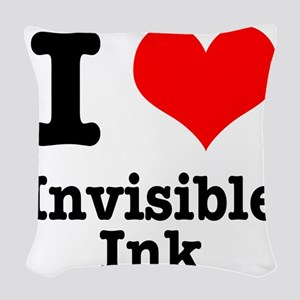 invisible ink Woven Throw Pillow