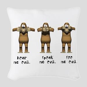hear no evil Woven Throw Pillow