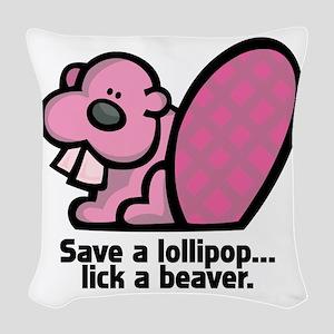 lick a beaver Woven Throw Pillow