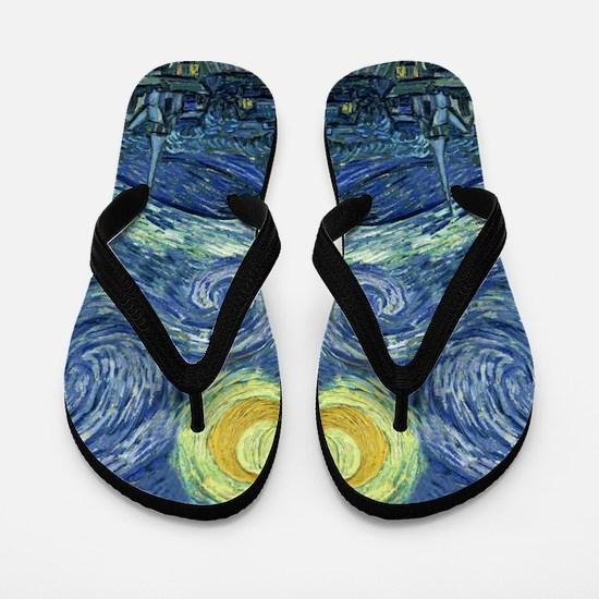 Starry Night by Van Gogh Flip Flops