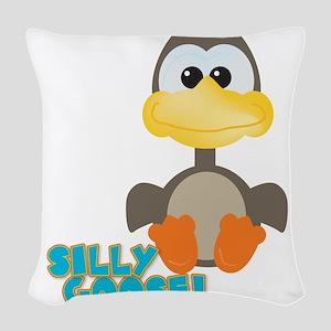 silly goose Woven Throw Pillow