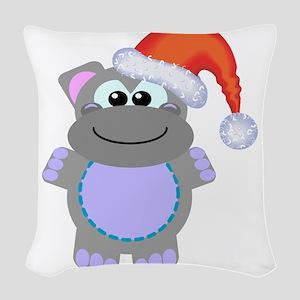 hippo santa Woven Throw Pillow