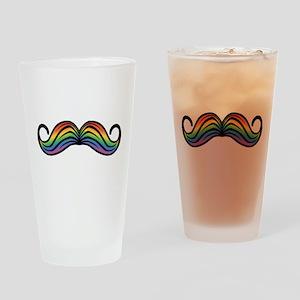 Rainbow Moustache Drinking Glass