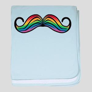 Rainbow Moustache baby blanket