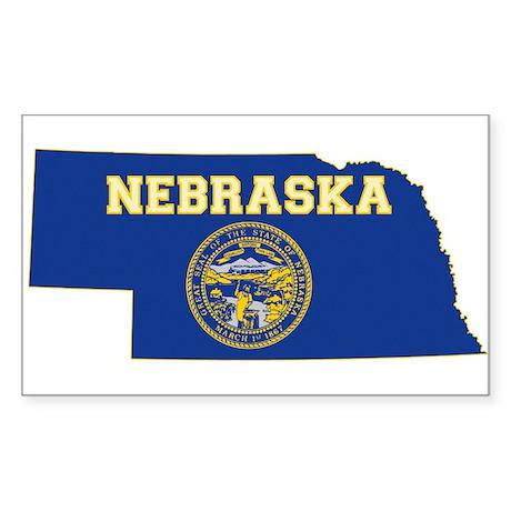 Nebraska Flag Sticker (Rectangle)