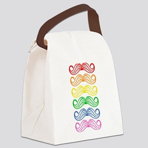 Rainbow Moustaches Canvas Lunch Bag