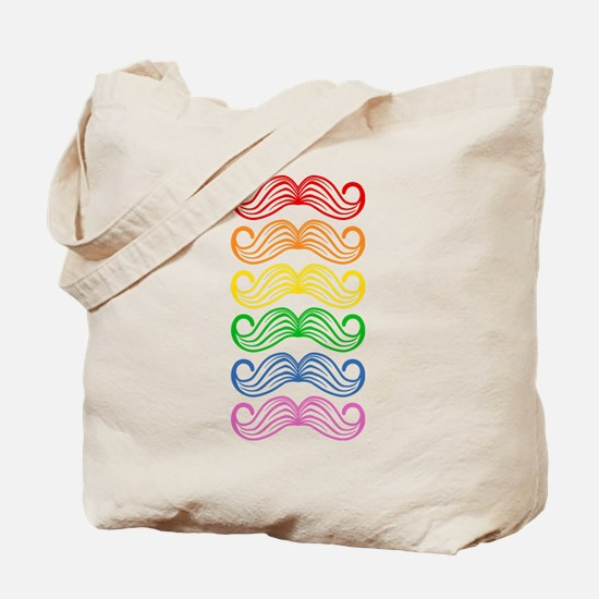 Rainbow Moustaches Tote Bag