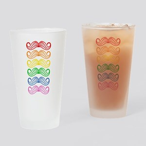 Rainbow Moustaches Drinking Glass