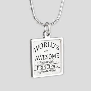 World's Most Awesome Principal Silver Square Neckl