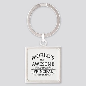 World's Most Awesome Principal Square Keychain
