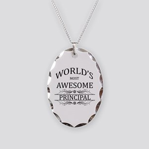 World's Most Awesome Principal Necklace Oval Charm