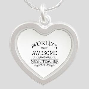World's Most Awesome Music Teacher Silver Heart Ne