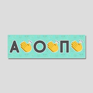 Alpha Omicron Pi Emoji Clap Car Magnet 10 x 3