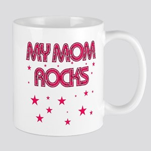 MY MOM ROCKS HOT PINK WITH STARS Mug