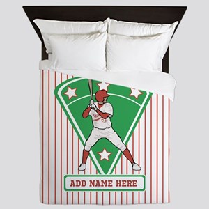 Personalized Red Baseball star player Queen Duvet