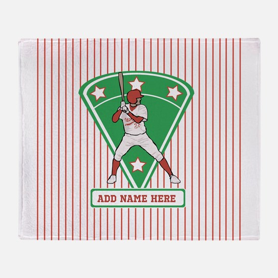 Personalized Red Baseball star player Throw Blanke