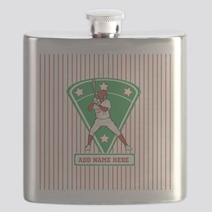 Personalized Red Baseball star player Flask