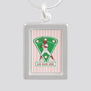 Personalized Red Baseball star player Necklaces