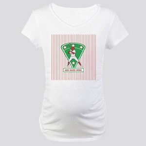 Personalized Red Baseball star player Maternity T-