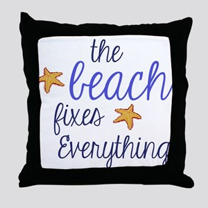 The Beach Fixes Everything Throw Pillow