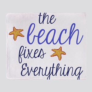 The Beach Fixes Everything Throw Blanket