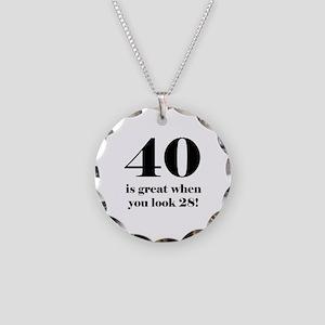 40th Birthday Humor Necklace Circle Charm