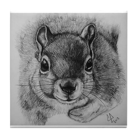 Squirrel Sketch 2 Tile Coaster