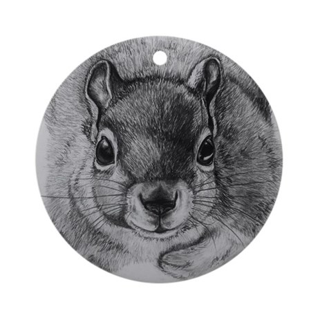 Squirrel Sketch Ornament (Round)